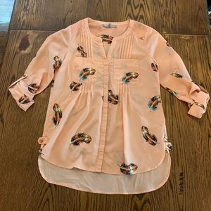 Daniel Rainn silk blouse in pink with feathers